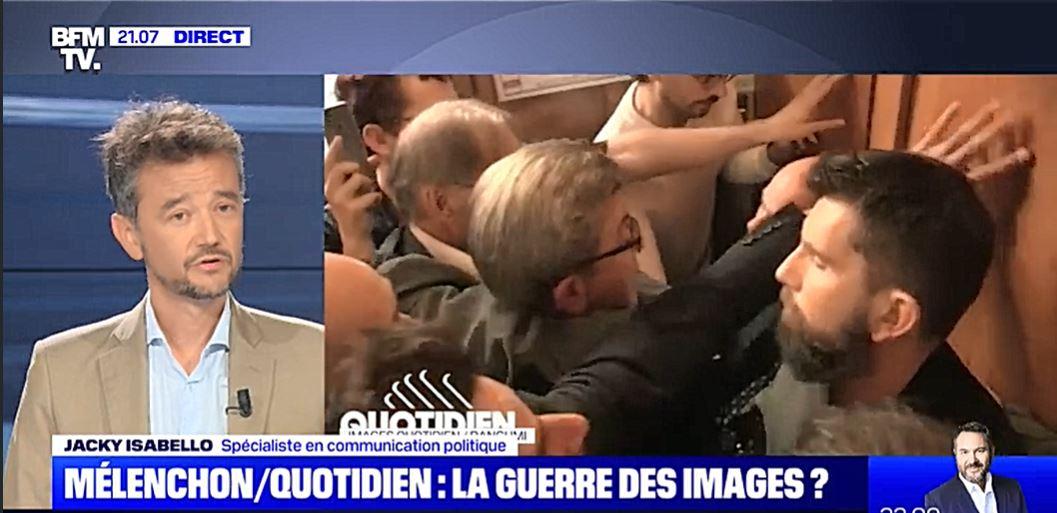 Jacky Isabello (CorioLink) décrypte pour Le Dézoom sur BFM TV la guerre des images Mélenchon / Quotidien et la communication politique de la France Insoumise